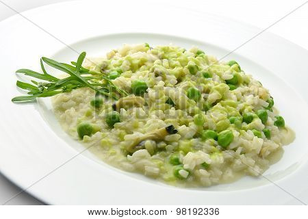 Plate Of Risotto With Clams And Peas 1