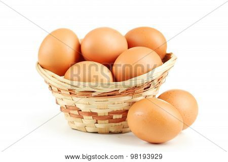Chicken egg isolated on a white, close up