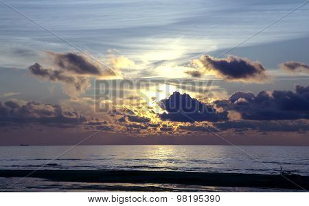 Magic sunset above the Baltic sea, Jurmala, Latvia