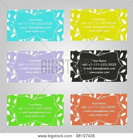 Set Of Six Horizontal Business Cards In Different Colors. Vintage Pattern With Leaves. Complied With