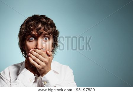 Closeup Portrait Of Handsome Young Shocked Business Man, Silent Young Business Man Covering Closed M