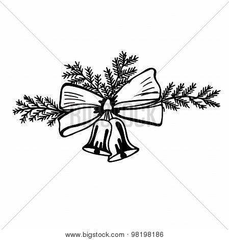 sketch, Christmas, bells, jingle bells, vector, isolated on white background