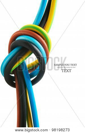 closeup of a electric cable on a white background
