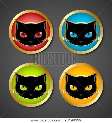 Black Cat Head Icons