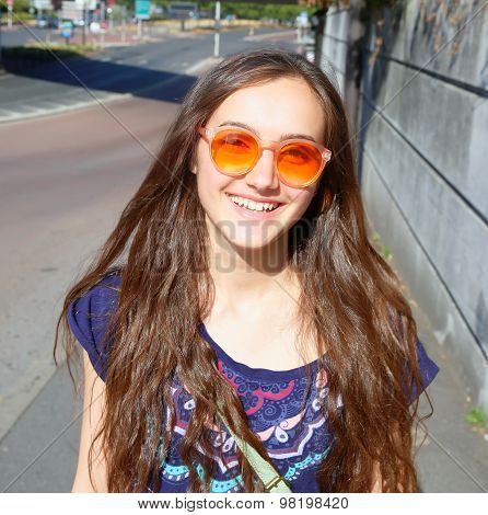 Happy Beautiful Student Girl On The Street