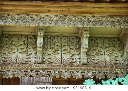 Wooden Patterns On The Eaves Of An Old House