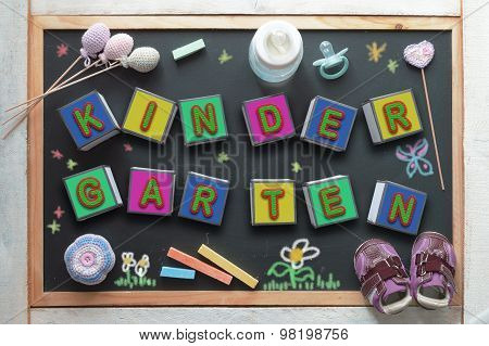 Kindergarten. Children education related objects.