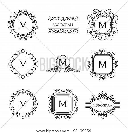 Set of outline monograms and logo design templates. Abstract monograms design elements,emblems and b