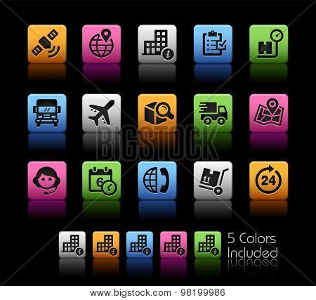Shipping and Tracking Icons // ColorBox Series ---- The Vector file includes 5 color versions for each icon in different layers --