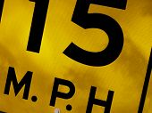 stock photo of infraction law  - sectional shot of road sign stating speed limit - JPG