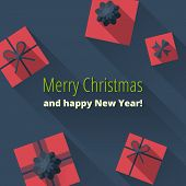 Christmas Card With Gift Boxes poster