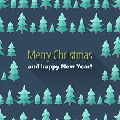 Постер, плакат: Christmas Card With Christmas Trees