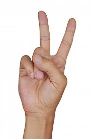 foto of swagger  - closeup of the hand of a young caucasian man giving a V sign on a white background - JPG