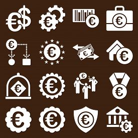 stock photo of passport template  - Euro banking business and service tools icons - JPG
