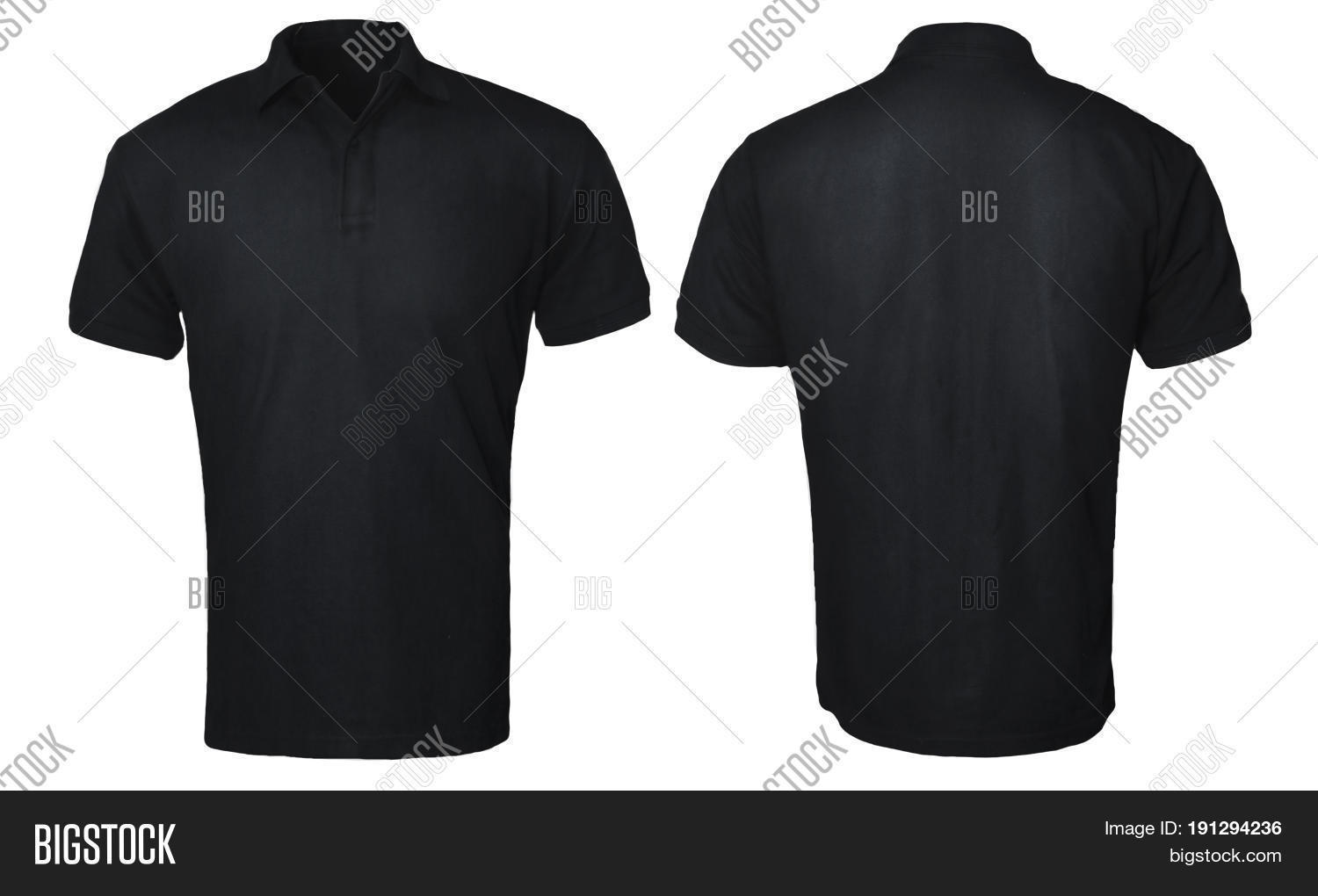 Black t shirt model template - Blank Polo Shirt Mock Up Template Front And Back View Isolated On White Plain Black T