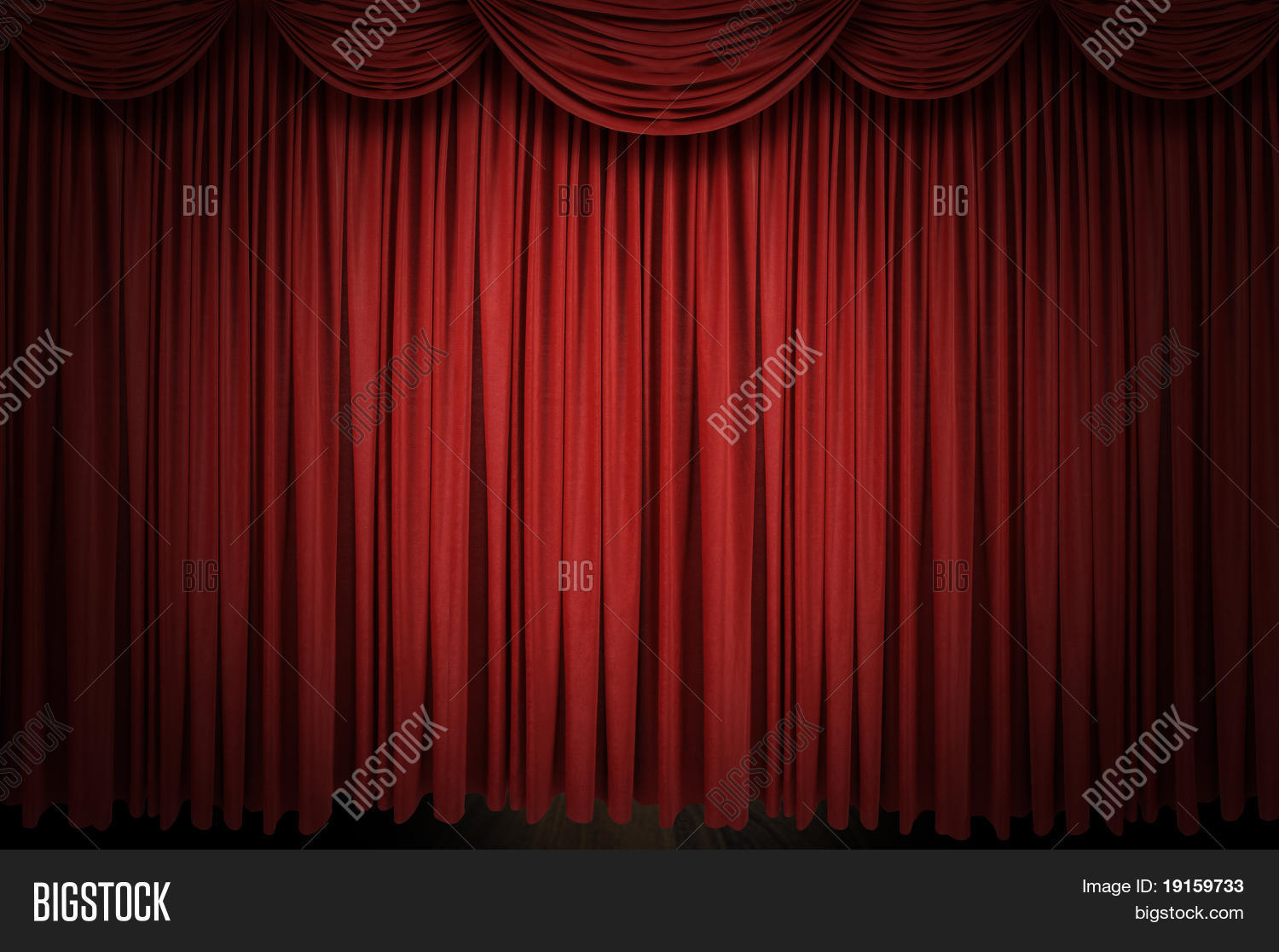 Red stage curtain with lights - Large Red Curtain Stage Opening With Spot Lights And Dark Background