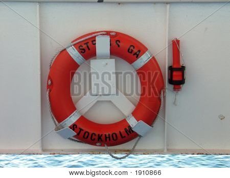 Lifering And Safety Light On A Ship