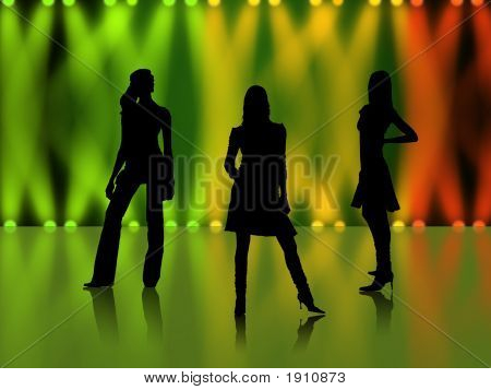 Sexy Girls Silhouettes In Night Club