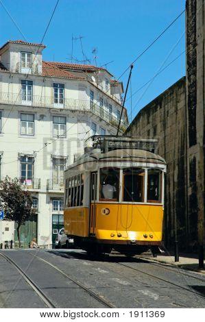 Traditional Yellow Lisbon Tram