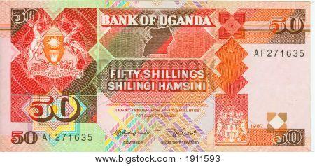 Old Paper Banknote Money Uganda Shilling