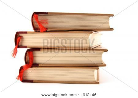 Books With Bookmarks On White Background