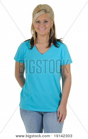 Pretty Woman Wearing A Plain Blue Tee Shirt