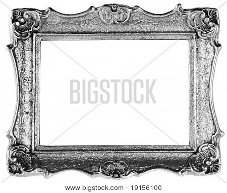 silver frame antique over white with clipping path