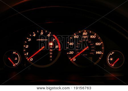Dashboard showing speedomete rand tachometer