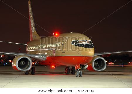 Southwest Airlines plane on the tarmac at night