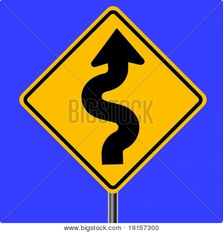 Curves ahead traffic sign - VECTOR