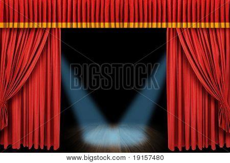 Große rote Vorhang Bühne Eröffnung mit Strahler und dunklem Hintergrund