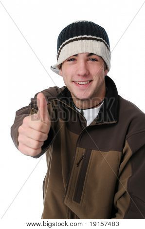 Teen boy giving thumbs up sign isolated on white