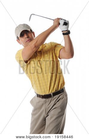 Golfer after swing on a studio setting isolated on a white background