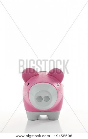 Front view of piggy bank with space for text. Use hue to change to any color