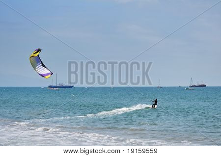 Kitesurfer having fun in Santa Barbara, California