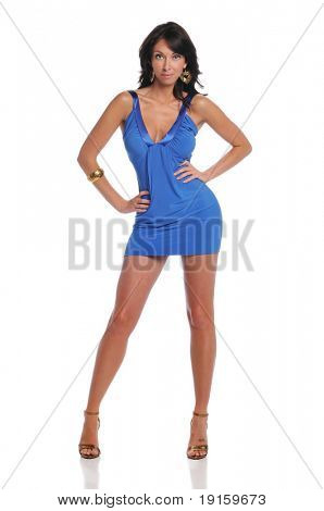 Young woman posing wearing a blue dress isolated on a white background