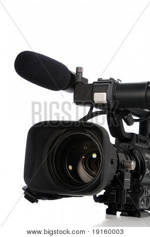 Professional video camera close up isolated on a white background