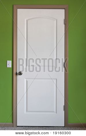 White door with green wall on a vertical format