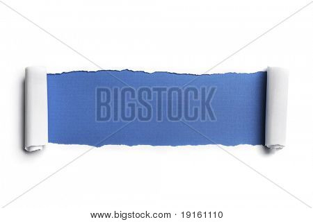 Torn Paper with space for text showing a blue background