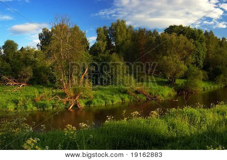 Stitched Panorama. Summer river. It is photographed in Russia. 60 kilometers on East from Moscow.