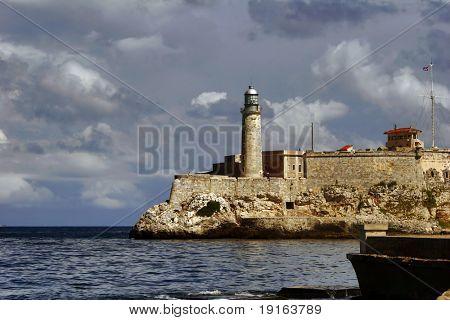 Beacon of capital of Cuba. View on beacon from quay Malecon on ocean and Havana city. Cuba island.