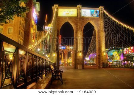 LAS VEGAS – MAY 2: A replica of the Brooklyn Bridge lies outside the New York, New York Hotel & Casino on May 2, 2007 in Las Vegas. The hotel skyline simulates the real New York City skyline.