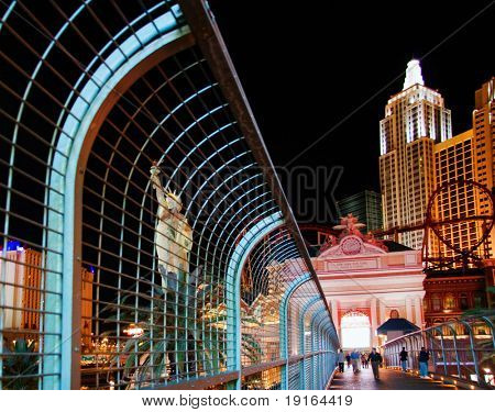 LAS VEGAS - MAY 1: Night lights of New York Hotel & Casino on May 1, 2007. Was opened on 01.03.1997. Project, which was first announced in 1994, was a joint venture of MGM Grand and Primadonna Resorts