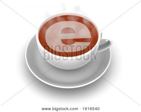 Cup Of Coffee With A Symbol Of The Internet
