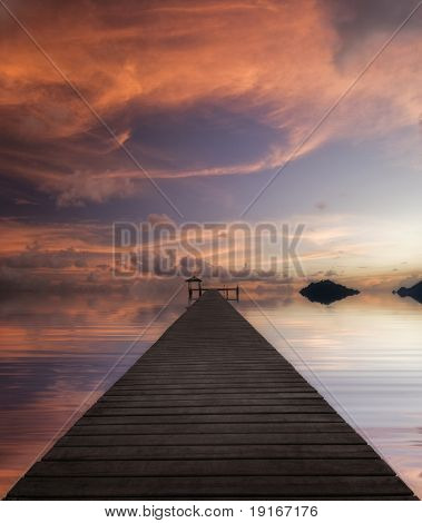 Long pier. Sunset on the tropical beach. Siam bay. Province Trat. Koh Mak island. Kingdom Thailand