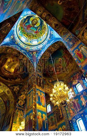 The interior of the church of Savior on Spilled Blood, St. Petersburg, Russia