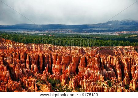 View on the valley. Slopes of Bryce canyon. Utah. USA