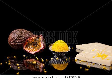 Chocolate - Brigadier Of Passion Fruit, On Black With Reflexion