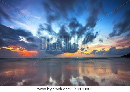 Beatiful sunset on the tropical beach