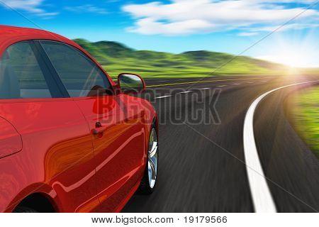 Carro vermelho dirigindo pela autobahn